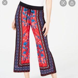 INC botanical print tie waist wide leg pants NWT